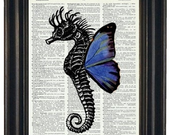Upcycled  Dictionary Book Print Seahorse with Blue Wings on Vintage Dictionary Page 8 x 10 HHP Original Design and Concept