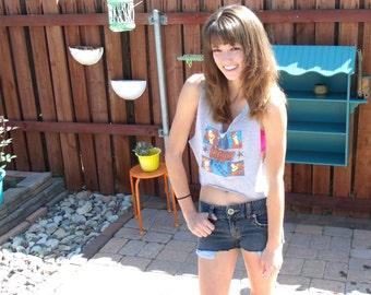 Vintage 90's Nineties Tigger Disney Reworked T Shirt Tee Tank Top Cut Women XS Small Cropped Crop Sports Gym Top PJ Athletic Ooak Spring
