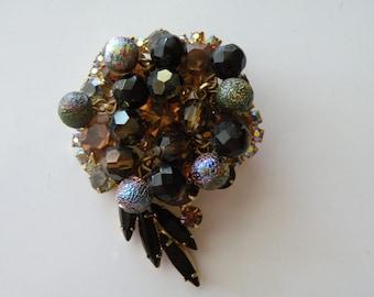 DeLizza & Elster Juliana metal filigree beads brooch, pin. Book piece.