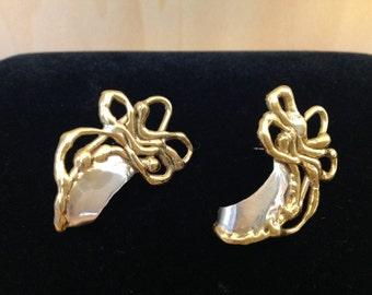 Hand Crafted Brass & Silver Pierced Earrings