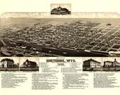 Cheyenne Wyoming Birds Eye View Map 1882