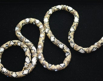 Beaded Swarovski Copper and Gold Plated Diamond Back Snake Necklace