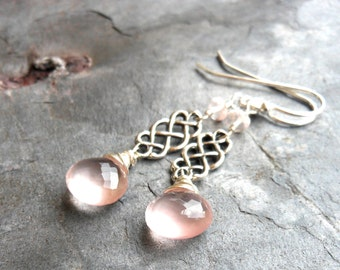 Rose Quartz Earrings Celtic Scroll Sterling Silver Dangle Pink Stone Earrings