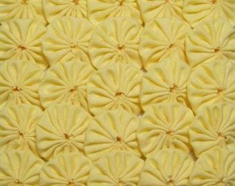 50 Yellow 1 inch  Fabric Yo Yos Applique Quilt Pieces Scrapbooking Embellishments