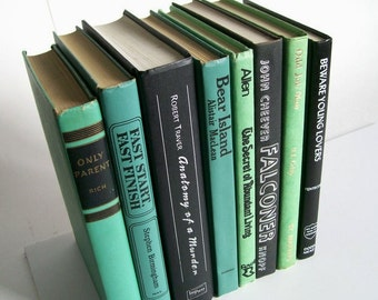 Vintage Book Collection Home Decor Instant Library Set of 8 Books Green and Black Photo Prop Shelf Display Wedding Decor