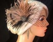 New Rock On  - Bridal Feather Fascinator, Black and Blush, Wedding Veil, Wedding Fascinator, Feather Fascinator