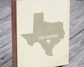 San Antonio Art Print - Texas Art - San Antonio Art - San Antonio Texas - I Love San Antonio - Wood Block Art Print
