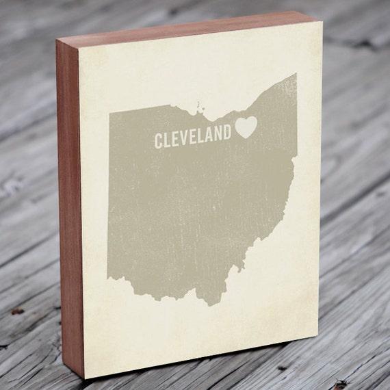 Cleveland Art Print - Ohio Art - Cleveland Art - Cleveland Ohio - I Love Cleveland - Wood Block Art Print