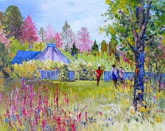 Oil painting, summer landscape, modern art, impressionism art. landscape painting, summer painting, forest painting, pink and blue painting