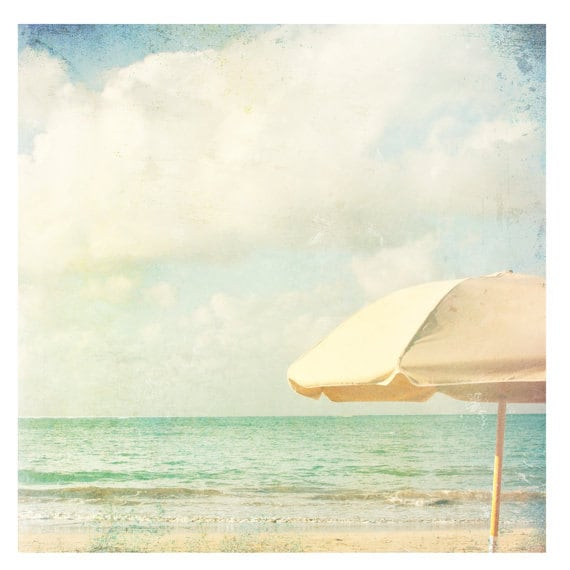 Photography Print, Summer, Beach, Coastal, Landscape  or Portrait style, Home Decor, Art, Pastels, Ocean, Umbrella, Cottage, Fine Art Print