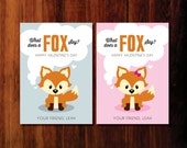Printable  Valentine  cards - what  does a  Fox  say