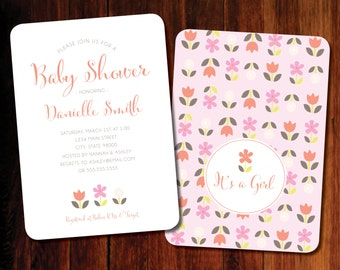 Floral Baby Shower invitations Chevron - set of 12