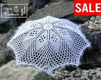 "SALE 30"" White Diamond Lace Crochet UMBRELLA PARASOL, Barefoot Summer Wedding, Flower Girl, Steampunk, Goth-Ready to Ship"