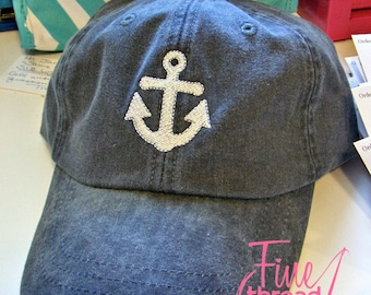 LADIES Anchor Baseball Cap Hat LEATHER strap Mom Bridesmaid Bride Bachelorette Pigment Dyed Beach