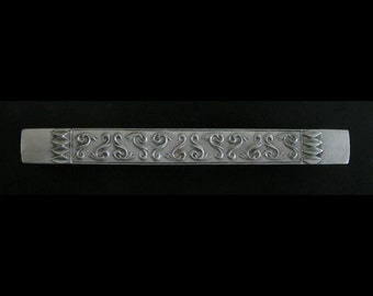 Pewter Cabinet Pull - Leafed Scroll