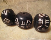 African Bone Beads: Handmade Round Large Hole Black Etched Tribal Barrel Beads, Traditional Ethnic Carved Design, 25x20mm, One piece