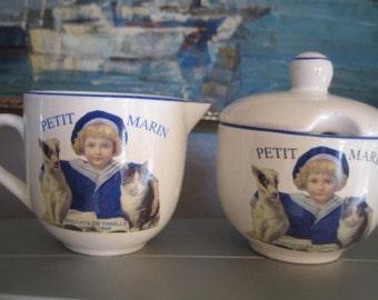 Vintage Cream & Sugar Set, White with Blue Logo of Child and Pets: Petit Marin Biscuits De Famille Depuis 1898, 3 pcs.