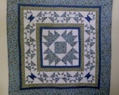 Quilted Wall Hanging, Wall Quilt, Quilted Table Topper, Quilted Table Runner,  Basket Quilt, Blue and Sage Green