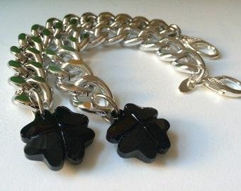 Brand New, Four Leaf Clover, Chunky Chain Bracelet with Swarovski Crystal, Black Crystal