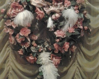 Marie Antoinette Heart Shaped Pink & Peach Rose Wreath w/Pearls, Ostrich Feathers and a White Sparkling Peacock