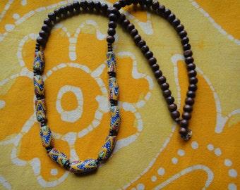 African Trade Beaded Necklace Prayer Bead Mala Rasta Mens Long Statement Hemp Tribal