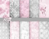 Shabby chic digital paper Wood digital paper shabby chic Pink digital paper Damask digital paper Digital Wood background Distressed