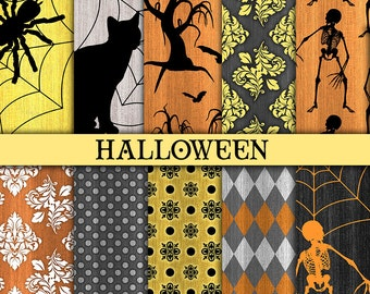 Halloween digital paper Halloween printable paper Halloween scrapbook paper Rustic halloween paper Commercial use