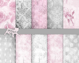 Shabby chic digital paper Wood digital paper shabby chic Pink digital paper Damask digital paper Digital Wood background Distressed