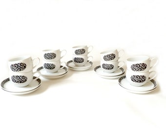 Vintage Ben Seibel Cups and Saucers … Set of 10, Mikasa Pivotal, Noir, 5003, Mid Century White Black Pottery, Ceramic, Porcelain MCM, Swirls