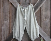 linen pant bloomer knicker britches girlie pantaloon dark natural flax ready to ship