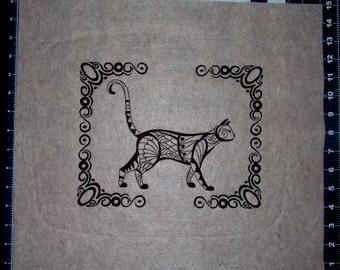 Blackwork Cat Scene (Embroidered Wall Art)