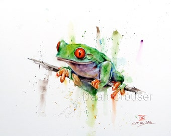 TREE FROG Watercolor Print, Frog Art, Frog Painting, by Dean Crouser