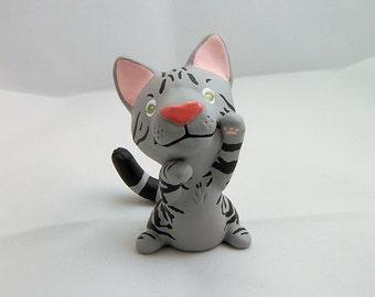 Hand Sculpted Tabby cat Derp Figurine
