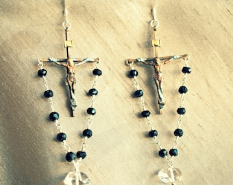 Religious Relic Earrings...Vintage Crucifix, Sterling, Black Spinel