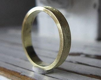Mens Wedding Band 18K Gold Mens Wedding Ring Gold Wedding Band Green Gold Ring Green Gold Band Mens Wedding Rings Unique Mens Wedding Band