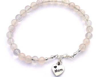 Rose Quartz Bracelet for Mom Celebrity Jewelry