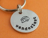 Wanderlust Hand Stamped Keychain by TheCopperFox