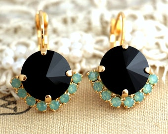 Black Mint gold drop earrings, Swarovski Drop earrings,Black drop earrings,  swarovski Crystal earrings,Bridesmaids jewelry,gift for woman