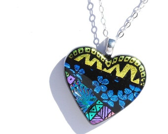 Heart Dichroic Glass Pendant, Fused Glass Jewelry - Love, Jewel Tones, Abstract, Colorful - Hand Etching, Gold Blue Green (Item #10659-P)