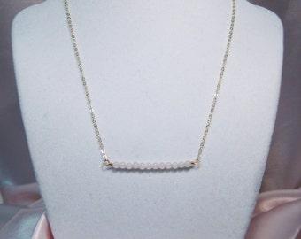BeadBar Necklace - Rose Quartz & Gold Filled Chain