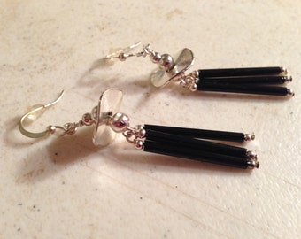 Black Earrings - Silver Jewelry  - Fashion Jewellery - Chic - Dangle - Beaded - Funky