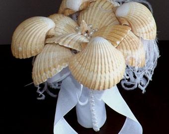 Bridal Bouquet  -  Sea Shell Wedding Bouquet - Beach Wedding Bouquet - Sea Shell Bridal Bouquet - Summer Wedding - READY TO SHIP!