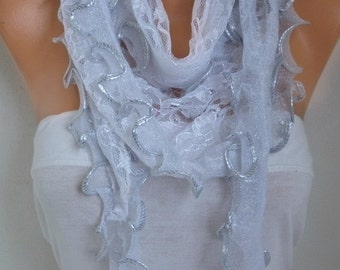 Silver Ruffle Lace Scarf ,Wedding Shawl,Bridal Scarf Cowl Scarf Bridesmaid Gift,Gift Ideas For Her,  Women Fashion Accessories