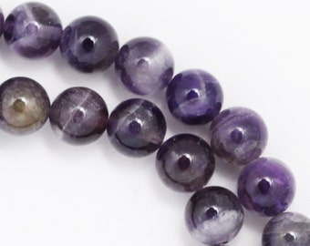 Banded Amethyst Beads - 8mm Round