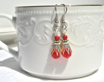 Dangle Swarovsky Earrings With Cone Bead Caps, Vintage Inspired Style, Boho Style, Bridal Style