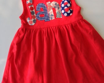 4th of July Personalized Name Dress in Red White and Blue- You Choose Dress Color and Sleeve Length