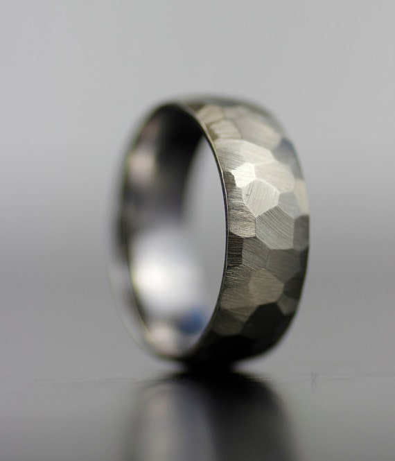 Mens Wedding Band White Gold Or Platinum Hand Faceted