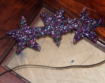 LargeTriple star multicolored disco skinny headband hair clip for adults or baby