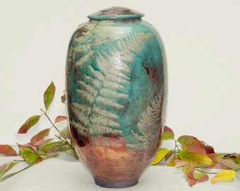 Wild Ferns Raku Urn, 13 in. tall Turquoise and Copper Patina with Fern detail