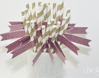 Gold & White Stripe Paper Straws with Pink Glitter Flags - 25 count - 1st Birthday
